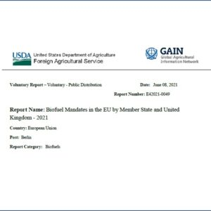 Informe del Departamento de Agricultura de Estados Unidos: Mandatos de biocombustibles en la UE por Estado miembro 2021