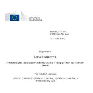UNION EUROPEA: Reestructuración del marco fiscal de los productos energéticos